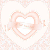 Valentine card,with heart and silk ribbon on lace background — Stock Photo