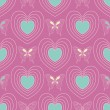 Stock Vector: Seamless hearts pattern with butterflies on the violet-pink background