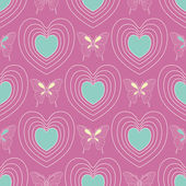 Seamless hearts pattern with butterflies on the violet-pink background — Stock Vector