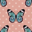 Cute Seamless Background Pattern with Butterfly and Polka Dots — Stock Photo