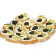 Sandwiches with black caviar — Stock Photo