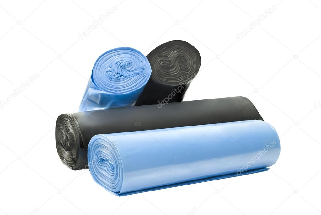 Plastic degradable blue and black garbage bags — Stock Photo #15766067