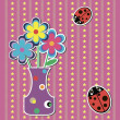 Card with flowers and ladybugs on colorful background vector — Stock Vector #13960468