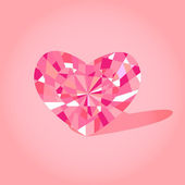 Crystal heart pink — Stock Vector