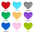 Stock Vector: Crystal hearts set