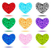 Crystal hearts set — Stock Vector