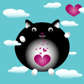 Cat in love black — Stock Vector