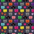 Cat faces dark — Stock Vector