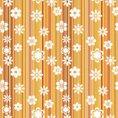 Floral striped pattern orange — Stock Vector