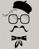 Hipster in beret — Stock Vector