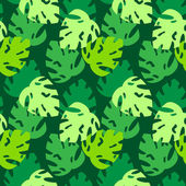 Monstera leaves pattern green — Stock Vector