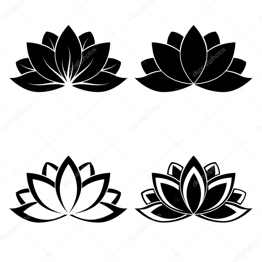 Four lotus silhouettes for