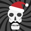 Skull with santa hat — Stock Vector