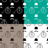 Hipster with bike pattern — Stock Vector
