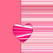 Valentine striped card vertical — Stock Vector