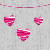木に心とバレンタイン カード — ストックベクタ