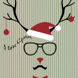 Stock Vector: Hipster-santa deer