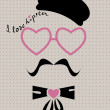 Hipster in beret with heart glasses — Stock Vector