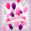 Valentine balloons background — Stock Vector