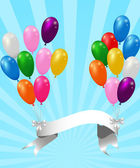 Balloons with ribbon — Vector de stock