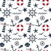 Nautical seamless pattern white — Stock Vector