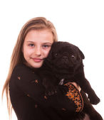Portrait pretty young girl with black dog on a white background isolated — Stock Photo