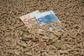 Wood pellets economical heating — Stock Photo