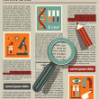 Illustration of searching in newspaper with magnifying glass — Vector de stock