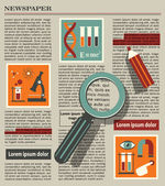 Illustration of searching in newspaper with magnifying glass — Stock Vector