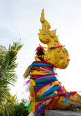 The naga symbol at Wat Prakaw, Bangkok, Thailand. — Stock Photo