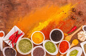 Mix spices on wood texture background for decorate project. — Stock Photo
