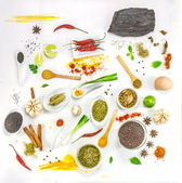 Mix spices on white  background for decorate project. — Stock Photo