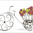 Floral bicycle — Stockvektor