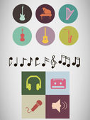 Pixel music icons — Stock Vector