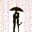 Under rain couple — Stock Vector
