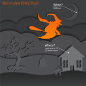 Halloween Party Paper Flyer — Vector de stock
