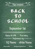 Back to school blue chalk board flyer — Stock Vector