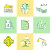 Set of line flat ecology symbols — Stock Vector