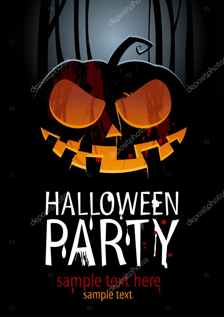 Halloween Party Design template, with pumpkin and place for text.  Stock Vector #13711368