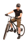 The bicyclist on white. — Stock Photo