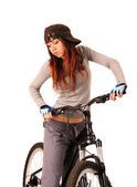 Woman bicyclist isolated on white. — Stockfoto