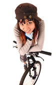 Woman bicyclist isolated on white. — Stock Photo
