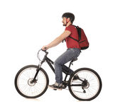 Bicyclist on white. — Stock Photo