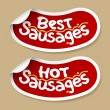 Best sausages stickers. - Stock Vector