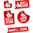 Well done stickers set. - Stockvectorbeeld