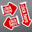 Click here stickers - Stockvectorbeeld