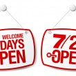 7 Days Open signs - Stockvectorbeeld