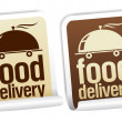 Food delivery stickers. — Stock Vector #13885596