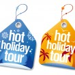Stock Vector: Hot holiday tour labels.