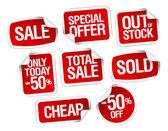 Samolepky za nejlepší prodej akcií — Stock vektor